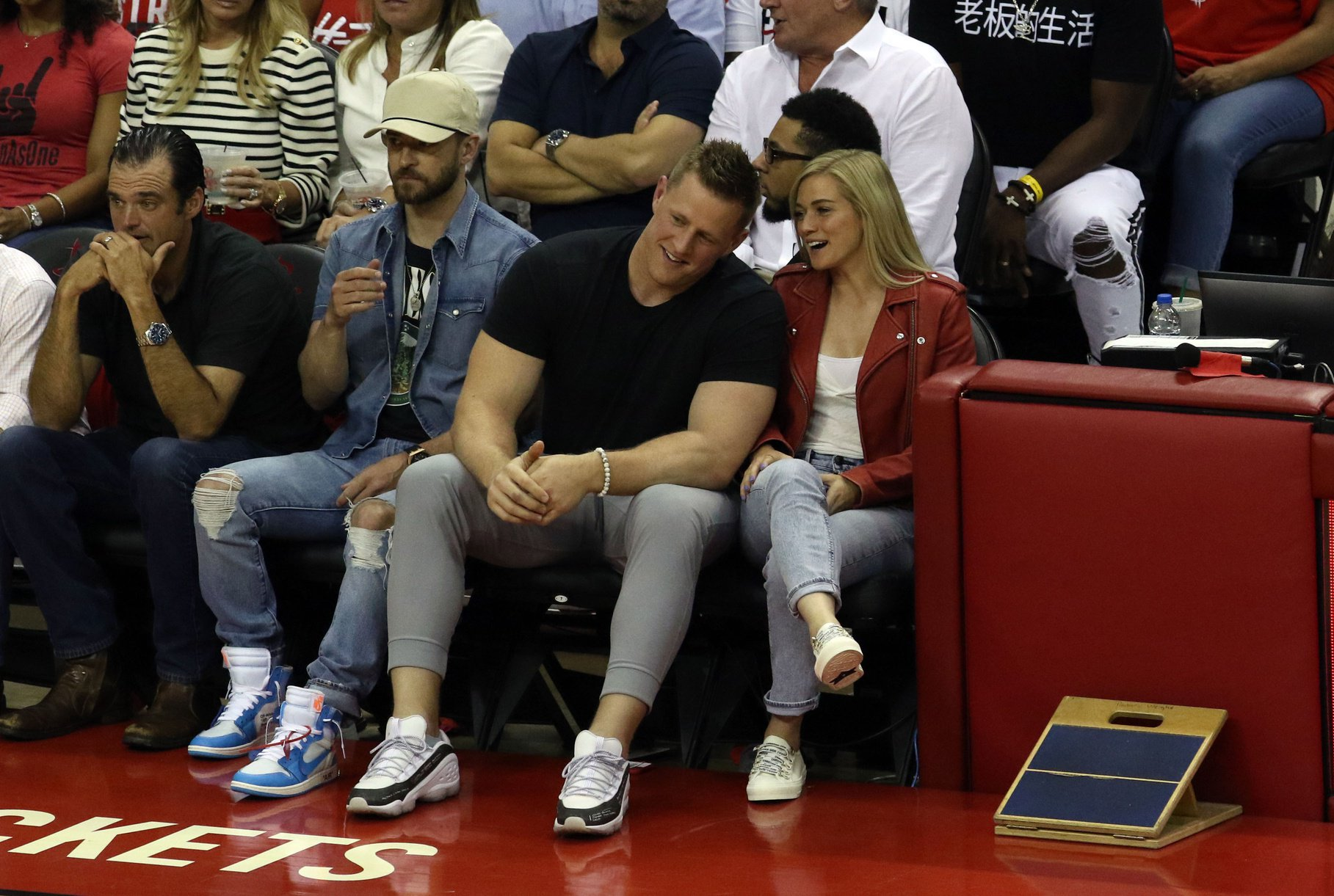 J.J. Watt and Girlfriend Spotted Courtside at Game 5 with Justin Timberlake