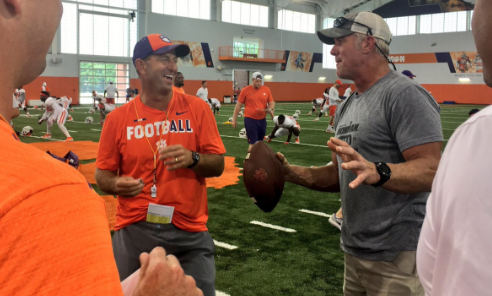 Brett Favre Visited Clemson and Played Catch with Former Receiver turned Head Coach Dabo Swinney
