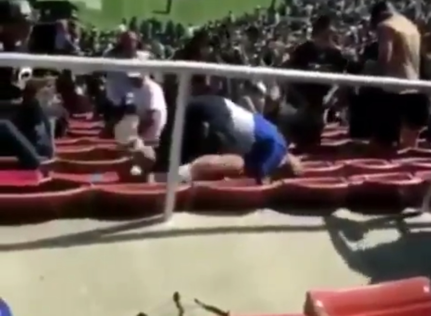 Raiders and Rams Fans Throw Hands in the Stands During Preseason Game