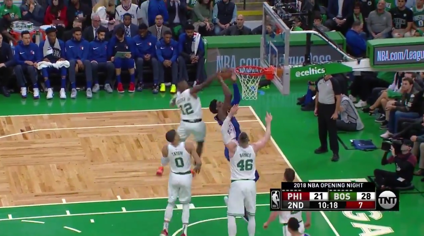 Terry Rozier Savagely Swatted a Joel Embiid Shot Attempt from Behind