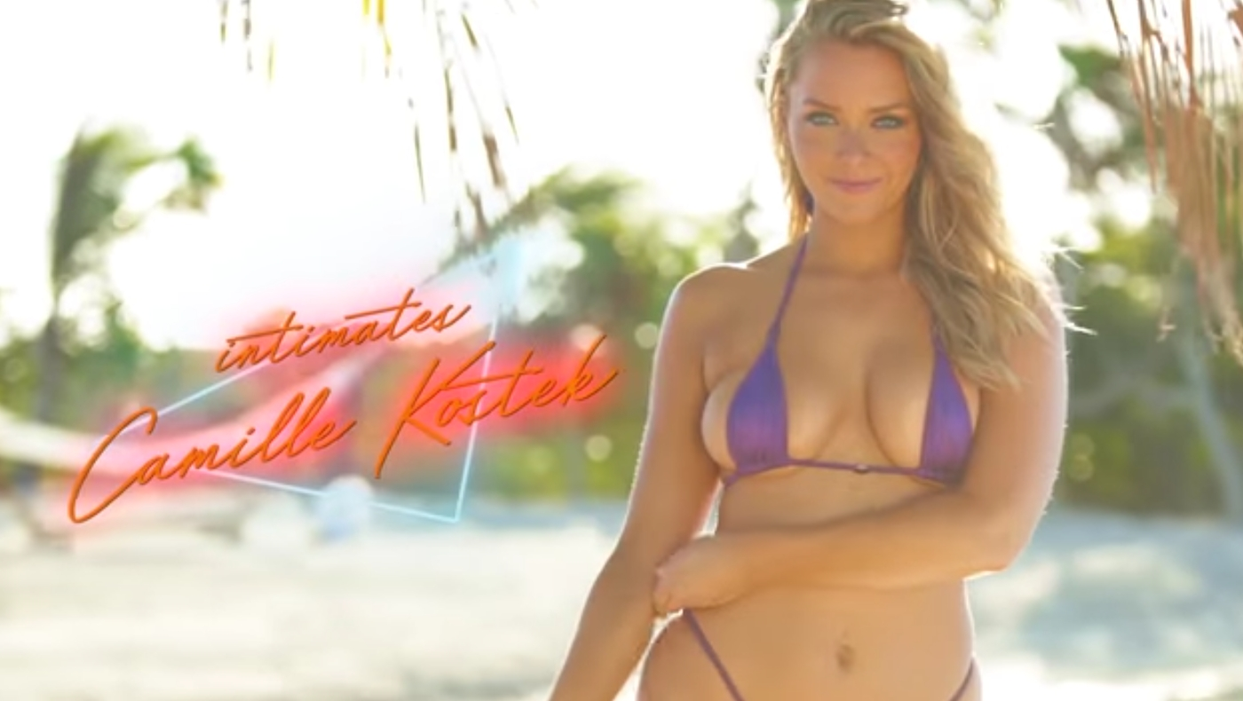 Camille Kostek Wears Nothing But A Sexy Chain Net Suit   Intimates   Sports Illustrated Swimsuit