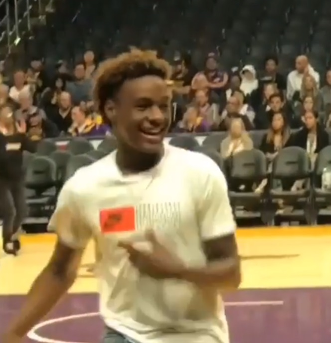 Bronny James Throws Down First Dunk at the Staples Center