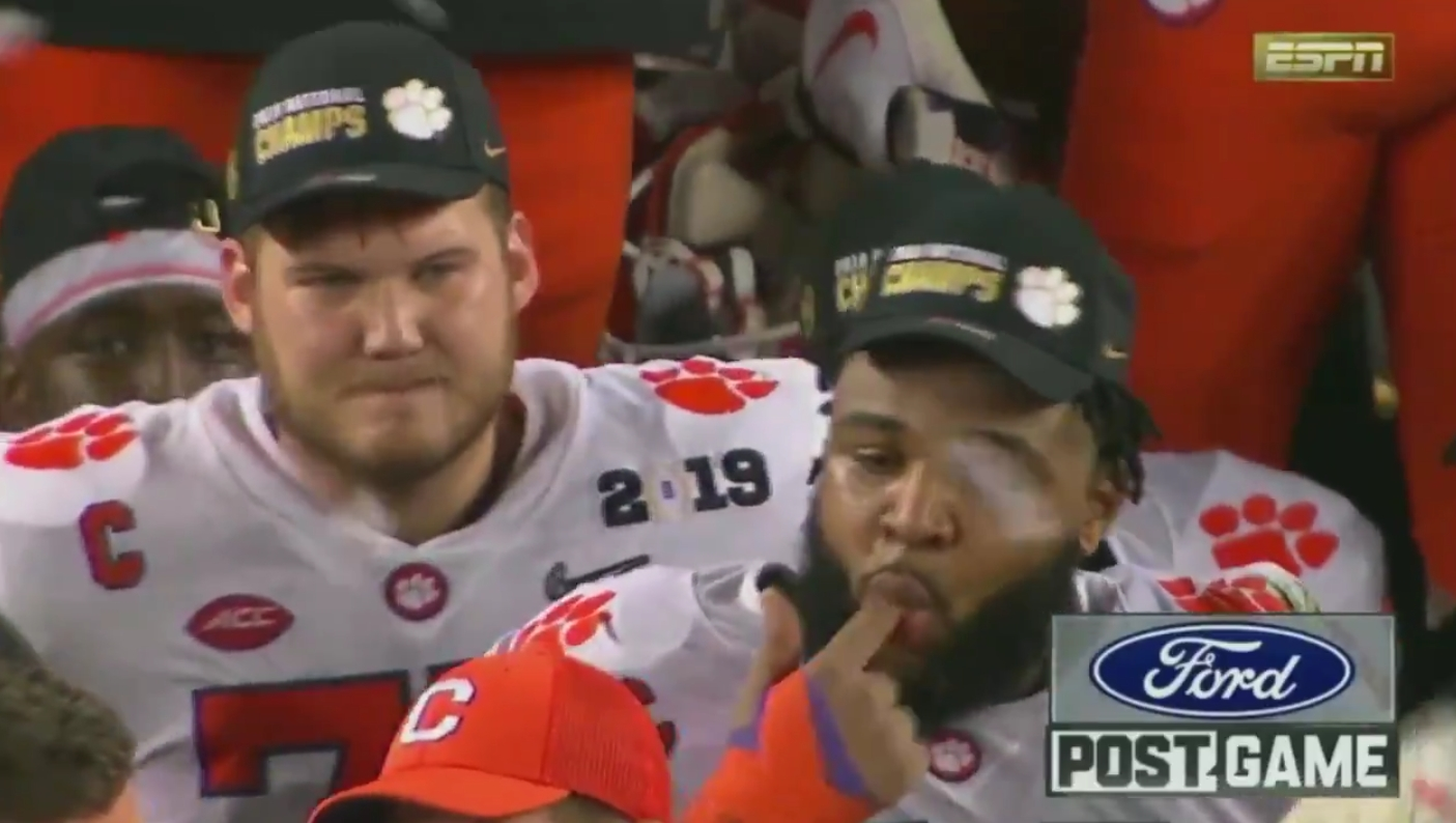 Clemson's Christian Wilkins Gave Dabo Swinney a Wet Willy during the Trophy Acceptance