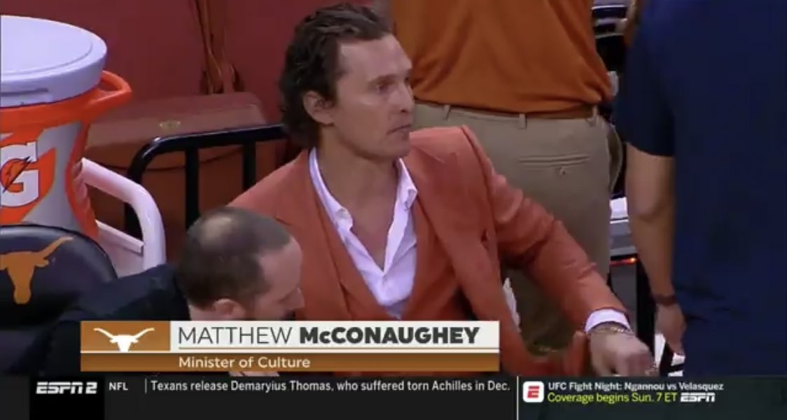 """Matthew McConaughey is the """"Minister of Culture"""" for Texas Basketball"""