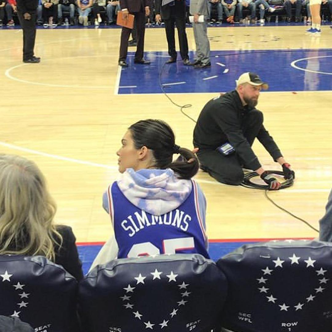 Kendall Jenner Broke Out Her Personalized Custom Sixers Jersey Yesterday